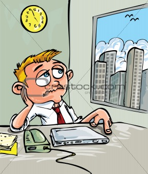 Cartoon of a man waiting for home time