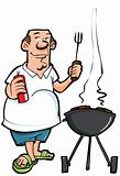 Cartoon of overweight man having a BBQ