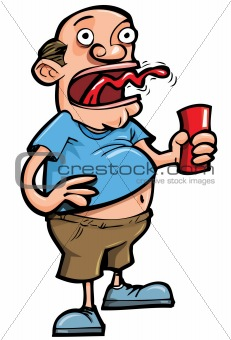 Cartoon of beer drinker belching