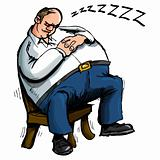Cartoon of overweight man sleeping in a chair