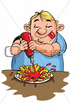 Cartoon of overweight man eating fries