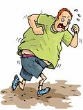 Cartoon of overweight runner