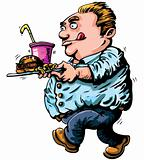 Cartoon of overweight man with fast food