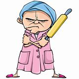 Cartoon of mean old woman with a rolling pin