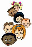 Cartoon of children smiling heads