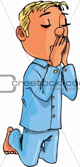 Cartoon boy kneeling in prayer
