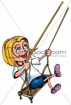 Cartoon of young girl on a swing