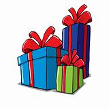 Cartoon of group of christmas gifts