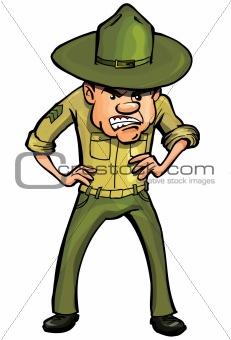 Angry cartoon drill sergeant