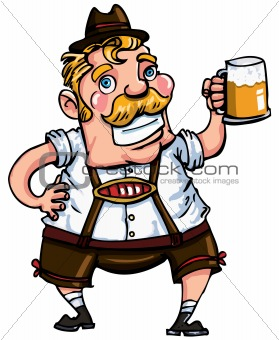 Cartoon man wearing a lederhosen