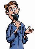 Cartoon reporter speaking into a microphone