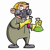 Cartoon Scientist experimenting with chemicals