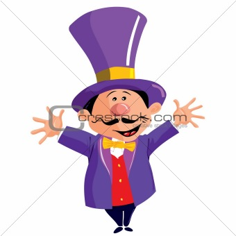 Cartoon Circus Ringmaster with a top hat