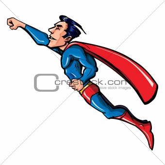 Cartoon flying superhero illustration