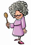 Cartoon Angry old woman with a wooden spoon