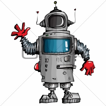 Cartoon robot waving his hand