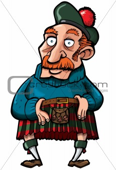 Cartoon Scotsman with a kilt and sporran