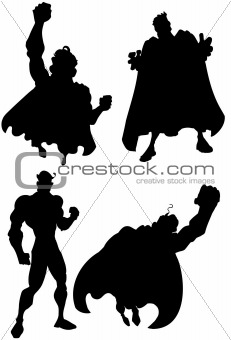 Silhouette of a set of superheros