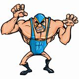 Angry cartoon wrestler with a mask