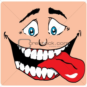 Cartoon Face of man with a big mouth