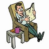 Cartoon in a lounge chair reading a newspaper