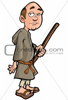 Cartoon monk with a walking stick