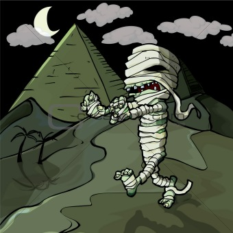 Scary cartoon Egyptian mummy in front of pyramids