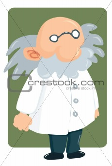 Cartoon professor in lab coat and bushy mustache