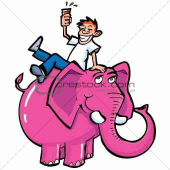 Cartoon drunk man riding a pink elephant