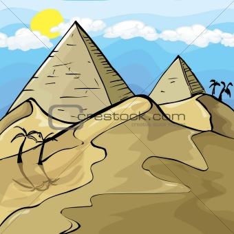 Illustration of Egyptian Pyramids