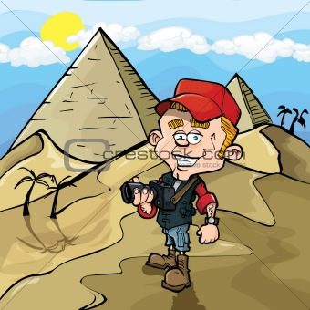 Cartoon photojournalist in Egypt