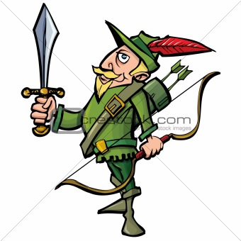 Cartoon Robin Hood with a sword