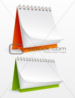 Blank desktop calendars isolated on white