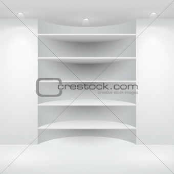 3d isolated Empty shelf for exhibit