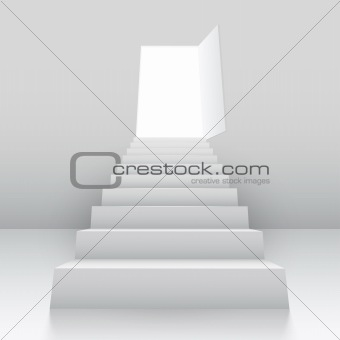 White staircase to open door.