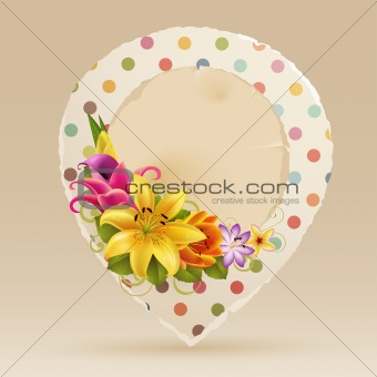 Vintage bubble for speech with flowers