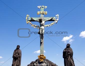 czech republic prague charles bridge - statue of jesus christ on cross