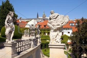 czech republic, prague - 18th century vrtba garden (vrtbovska zahrada) and hradcany castle