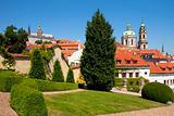 czech republic, prague - 18th century vrtba garden (vrtbovska zahrada) and st. nicholas church