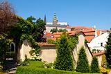 czech republic, prague - 18th century vrtba garden (vrtbovska zahrada) and hradcany castle