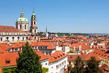 czech republic, prague - st. nicholas church at roofs of little quarter (mala strana)
