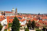 czech republic, prague - 18th century vrtba garden (vrtbovska zahrada) and st. nicholas church