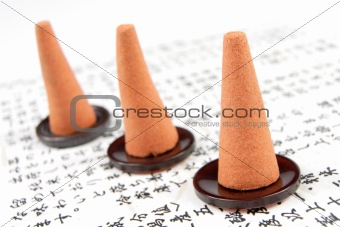 three incense cones