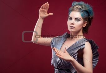 beauty alien woman in futuristic dress