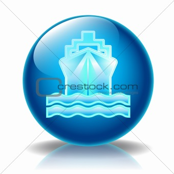 Cruise ship glossy icon