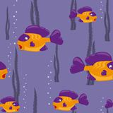 seamless pattern yellow fish