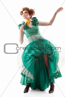 Beauty woman in old fashioned dress