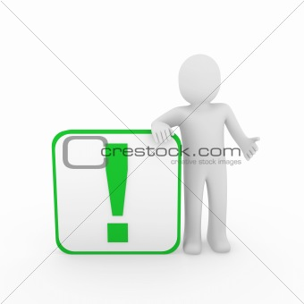 3d man human green exclamation mark  cube