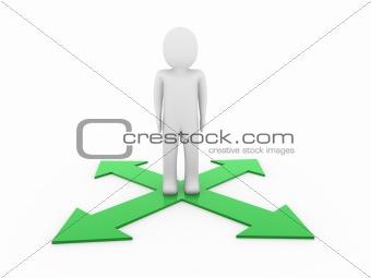 3d man human arrow green way