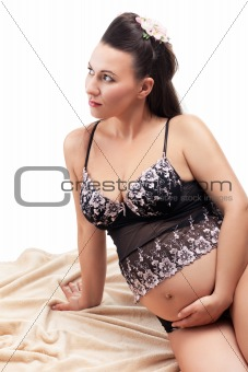 Beautiful adult pregnant woman